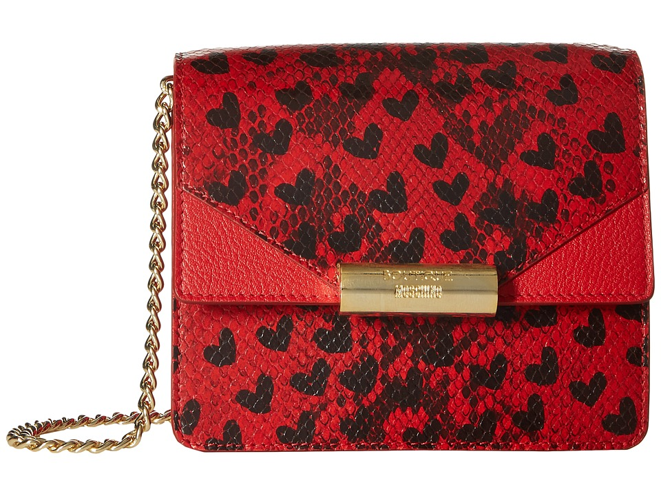 Boutique Moschino - Python and Hearts Print Shoulder Bag (Red 1115) Shoulder Handbags