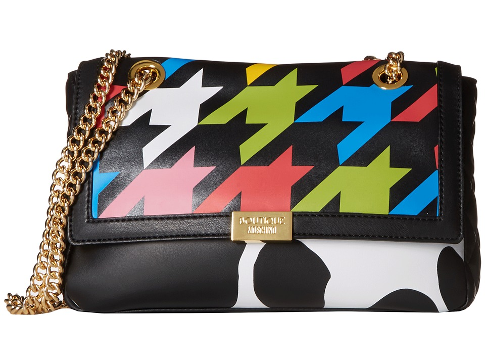 Boutique Moschino - Cow and Pied De Poule Print Shoulder Bag (Fantasy Print Black) Shoulder Handbags
