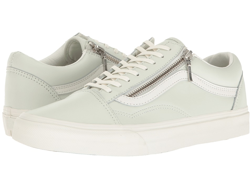 Vans - Old Skool Zip ((Leather) Zephyr Blue/Blanc De Blanc) Lace up casual Shoes
