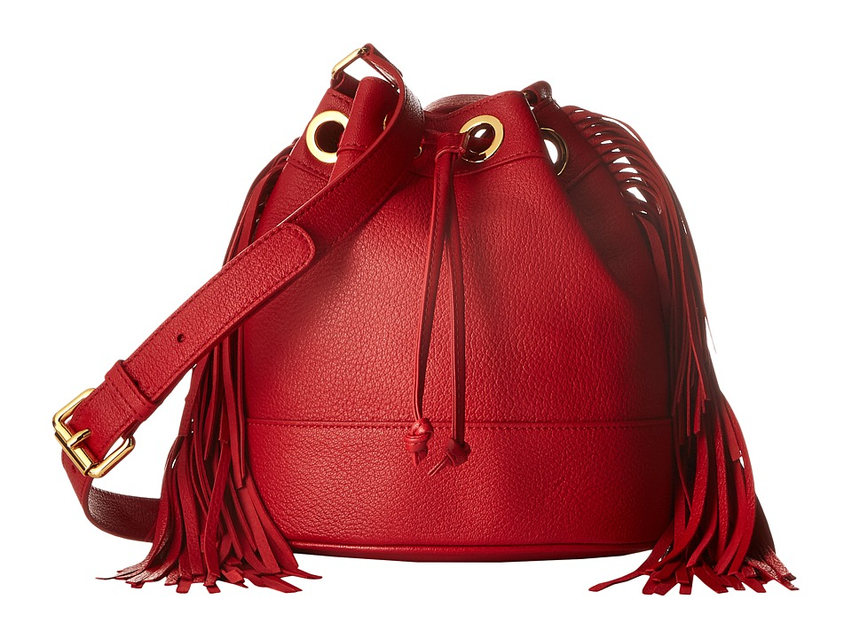 Boutique Moschino - Fringes Bucket Bag (Red 0115) Handbags