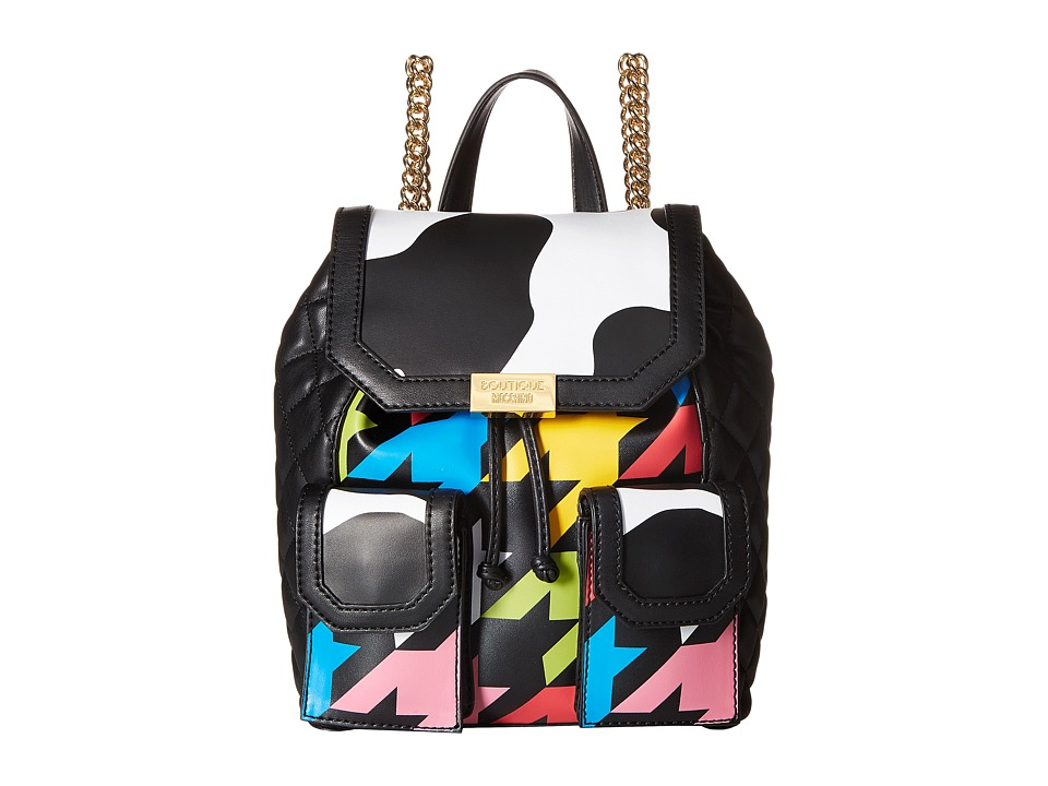 Boutique Moschino - Cow and Pied De Poule Print Backpack (Fantasy Print Black (2555)) Backpack Bags