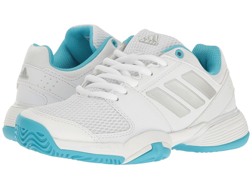 adidas Kids - Barricade Club xJ Tennis (Little Kid/Big Kid) (White/Silver Metallic/Samba Blue) Girls Shoes