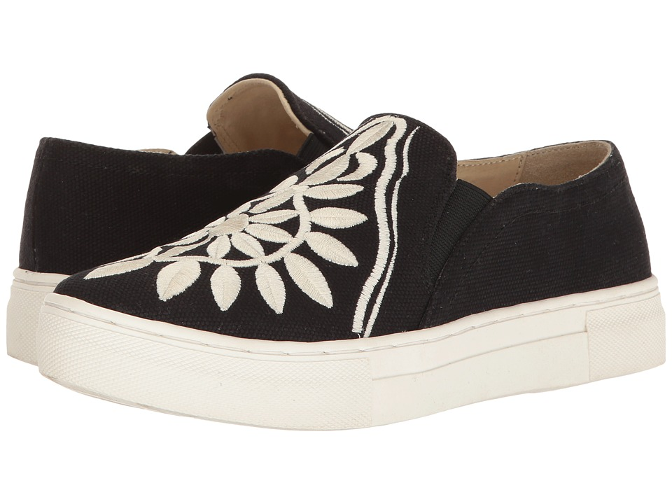 Seychelles - Sunshine (Black Canvas/Cream Embroidery) Women's Slip on Shoes