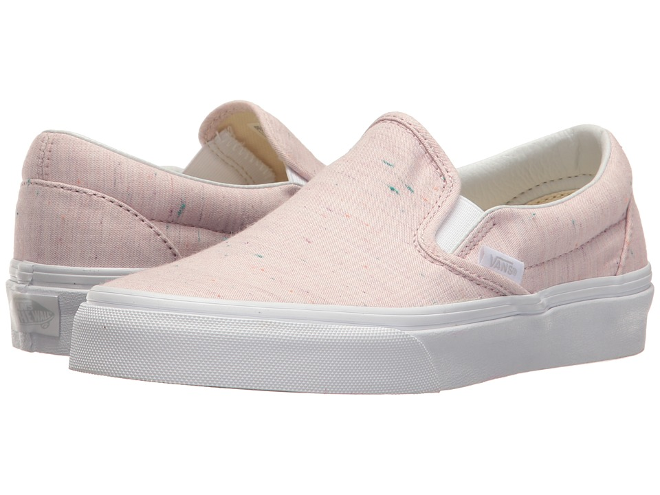 Vans Classic Slip-On ((Speckle Jersey) Pink/True White) Skate Shoes