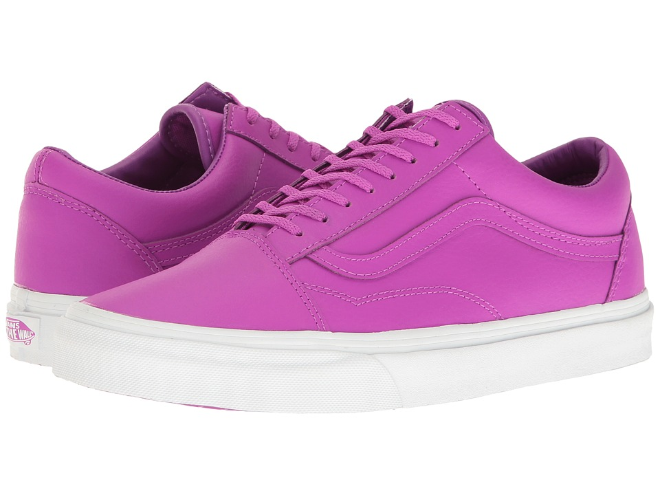 Vans - Old Skool ((Neon Leather) Neon Purple/True White) Skate Shoes