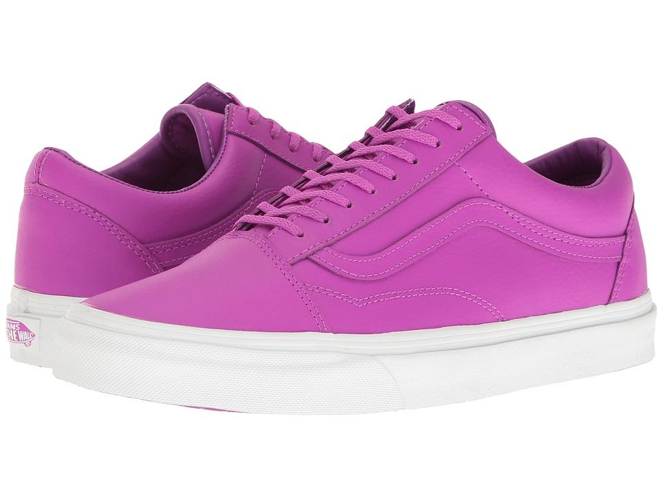 Vans - Old Skool ((Neon Leather) Neon Purple/True White) Skate Shoes