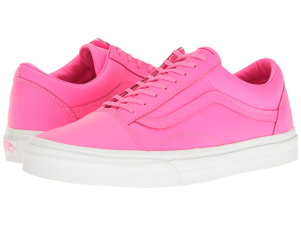 Vans - Old Skool ((Neon Leather) Neon Pink/True White) Skate Shoes