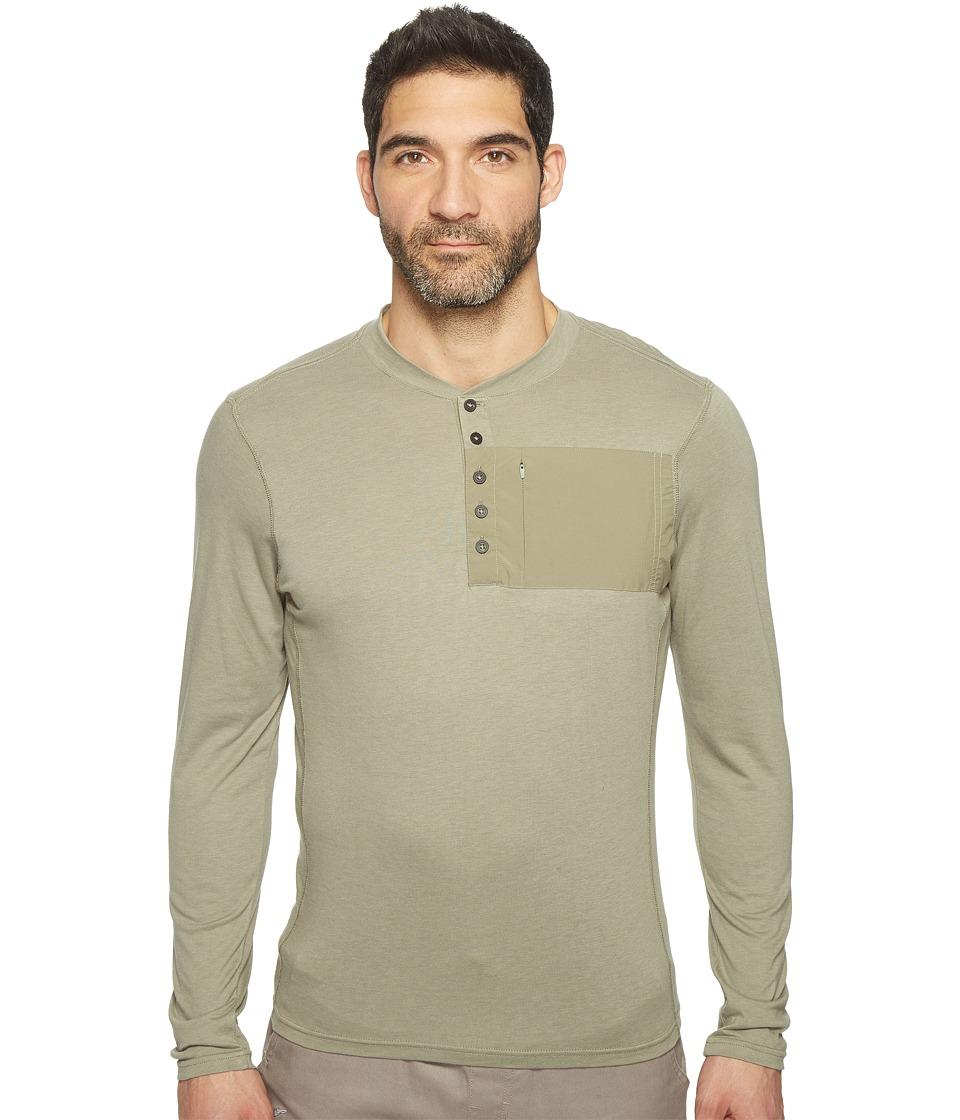 NAU - Long Sleeve Wander Henley Top (Vetiver) Men's Clothing