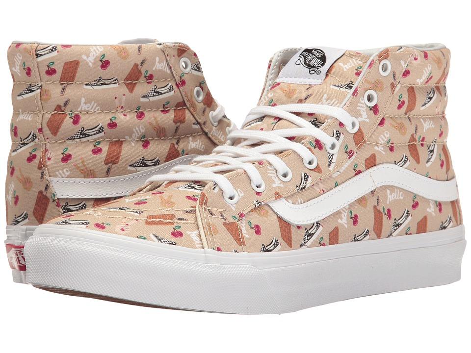 Vans - SK8-Hi Slim ((Vansmoji) Pale Khaki/True White) Skate Shoes