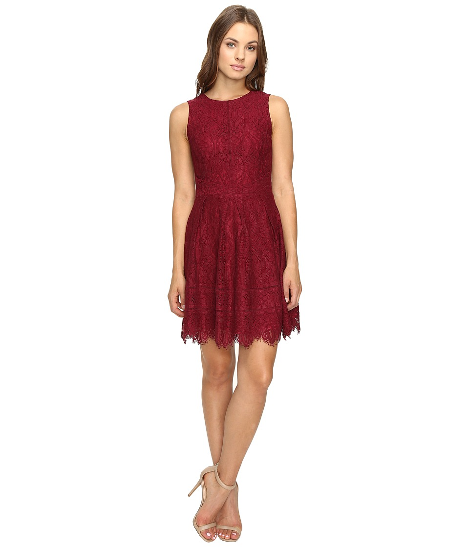 Adelyn Rae Lace Fit and Flare Dress (Bordeaux) Women