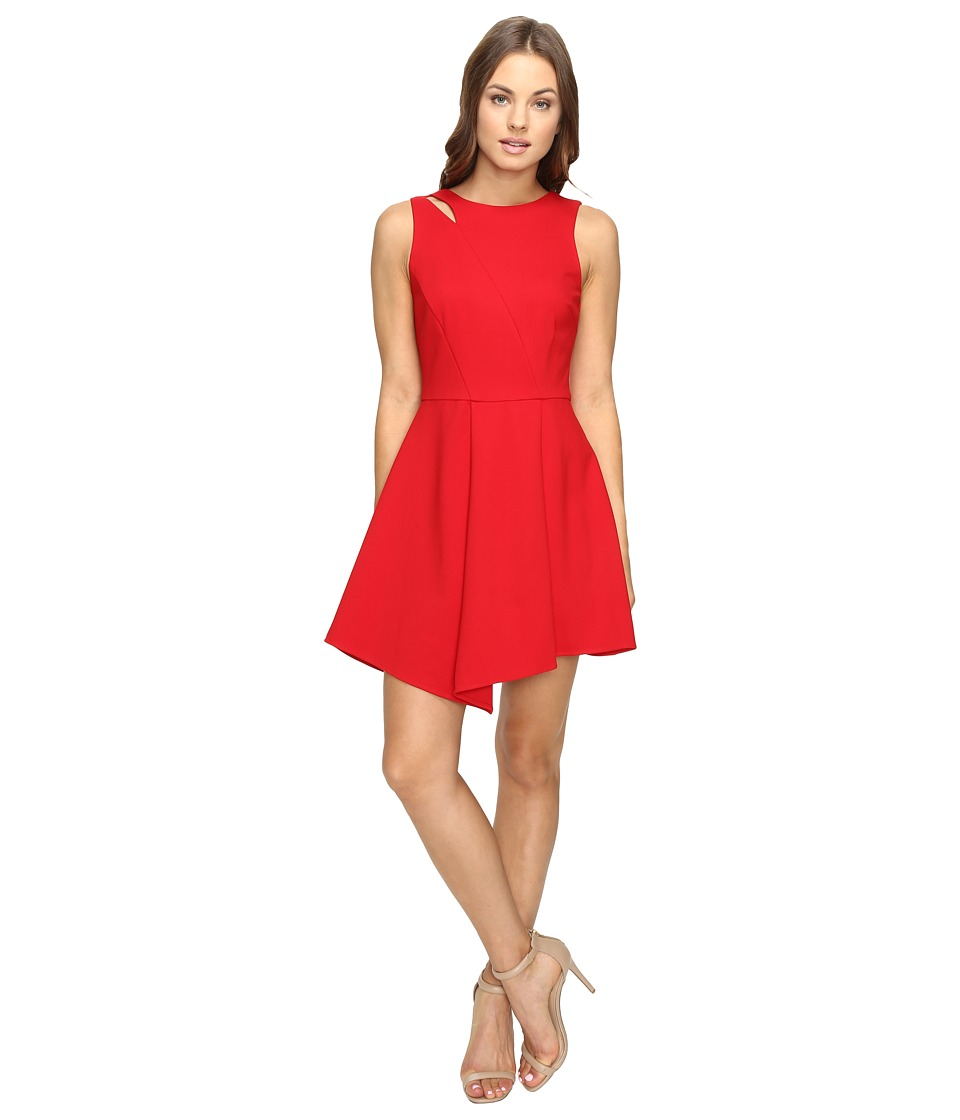 Adelyn Rae - Fit and Flare Dress with Asymmetrical Hem (Red) Women's Dress
