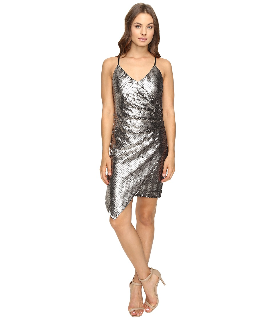 Adelyn Rae - Sequin Sleeveless Wrap Dress (Silver) Women's Dress