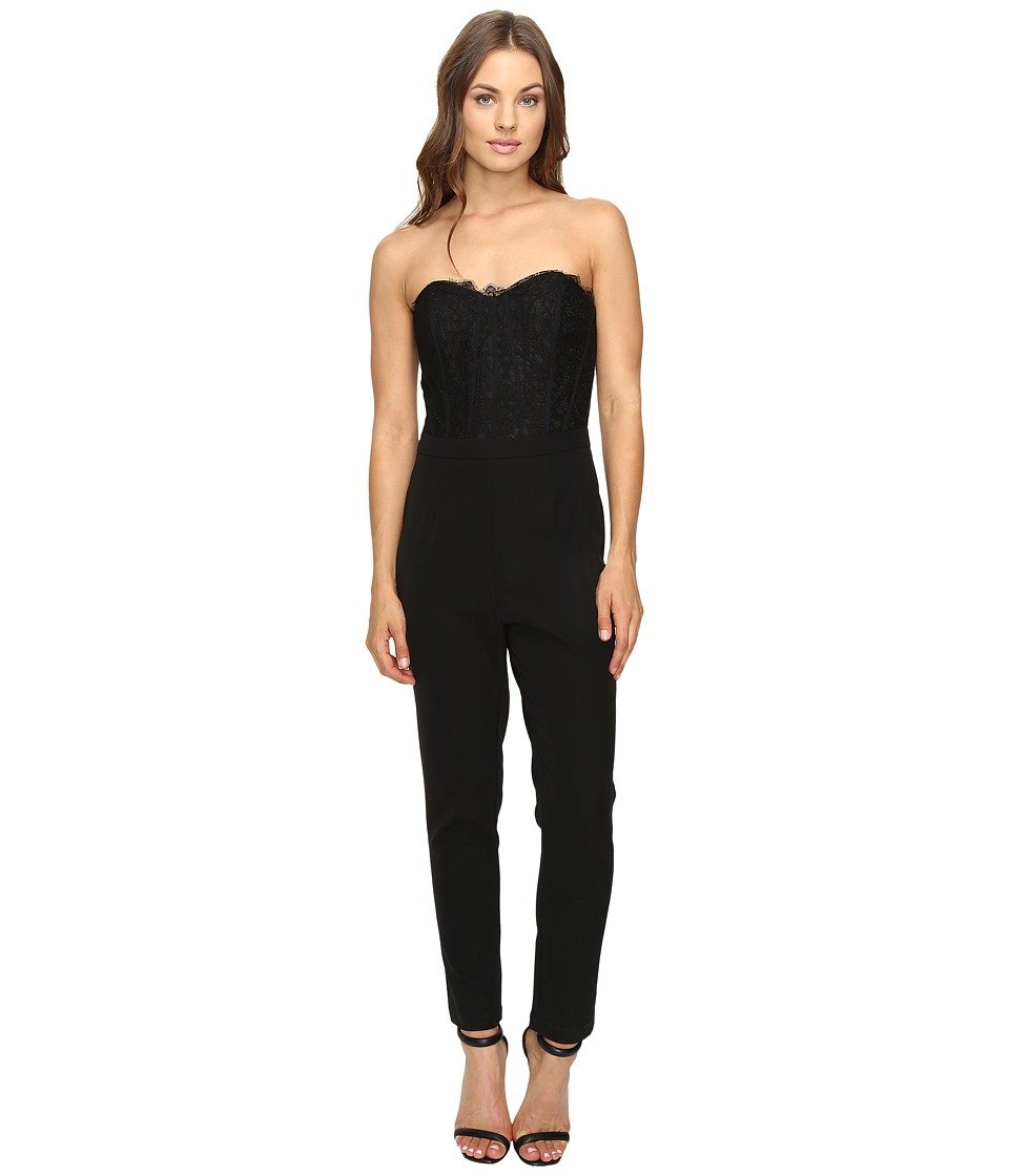 Adelyn Rae - Jumpsuit with Lace Bodice (Black) Women's Jumpsuit & Rompers One Piece