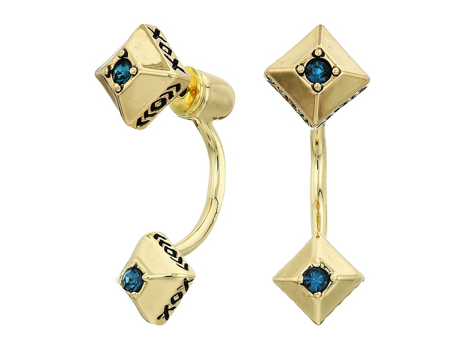 House of Harlow 1960 - The Lyra Ear Jacket Earrings (Gold/Blue) Earring