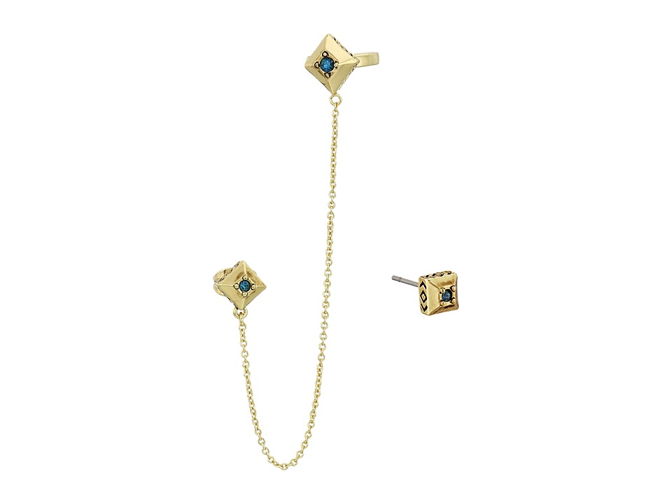 House of Harlow 1960 - The Lyra Ear Cuff And Stud Earrings Set (Gold/Blue) Earring