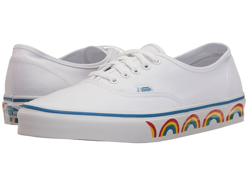 Vans - Authentic ((Rainbow Tape) True White/Blue) Skate Shoes