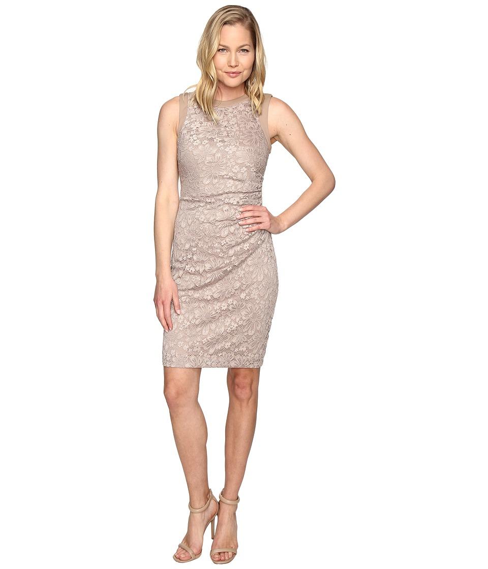 Calvin Klein - Side Ruched Lace Sheath Dress CD6L1Q6Q (Khaki) Women's Dress