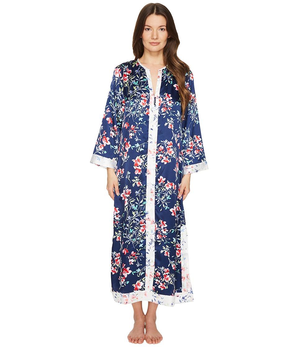 Oscar de la Renta Pink Label - Floral Print Silky Charmeuse 51 Zip Front Caftan (Navy Bouquet Print) Women's Robe