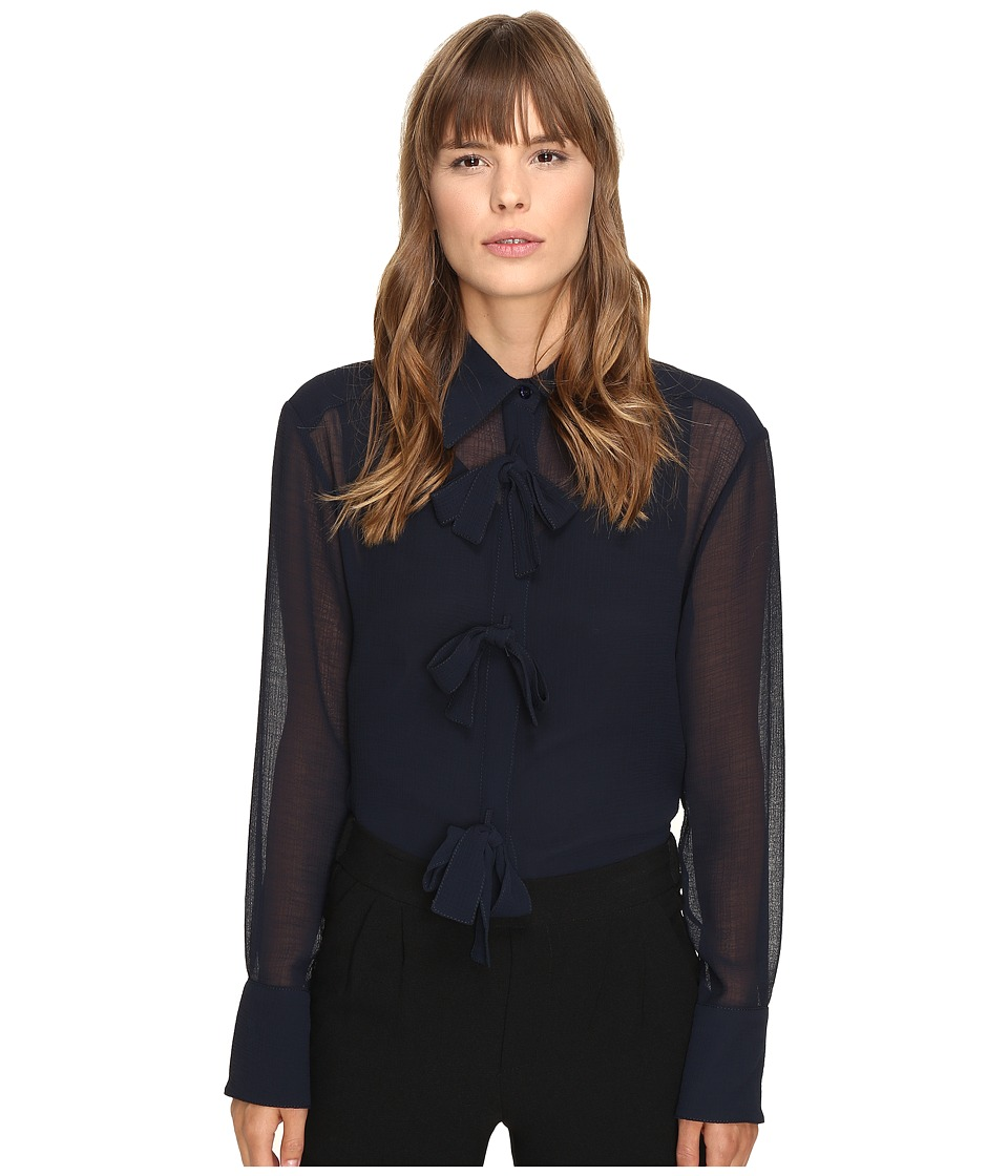 See by Chloe - Georgette Blouse with Bow Detailing (Navy) Women's Blouse