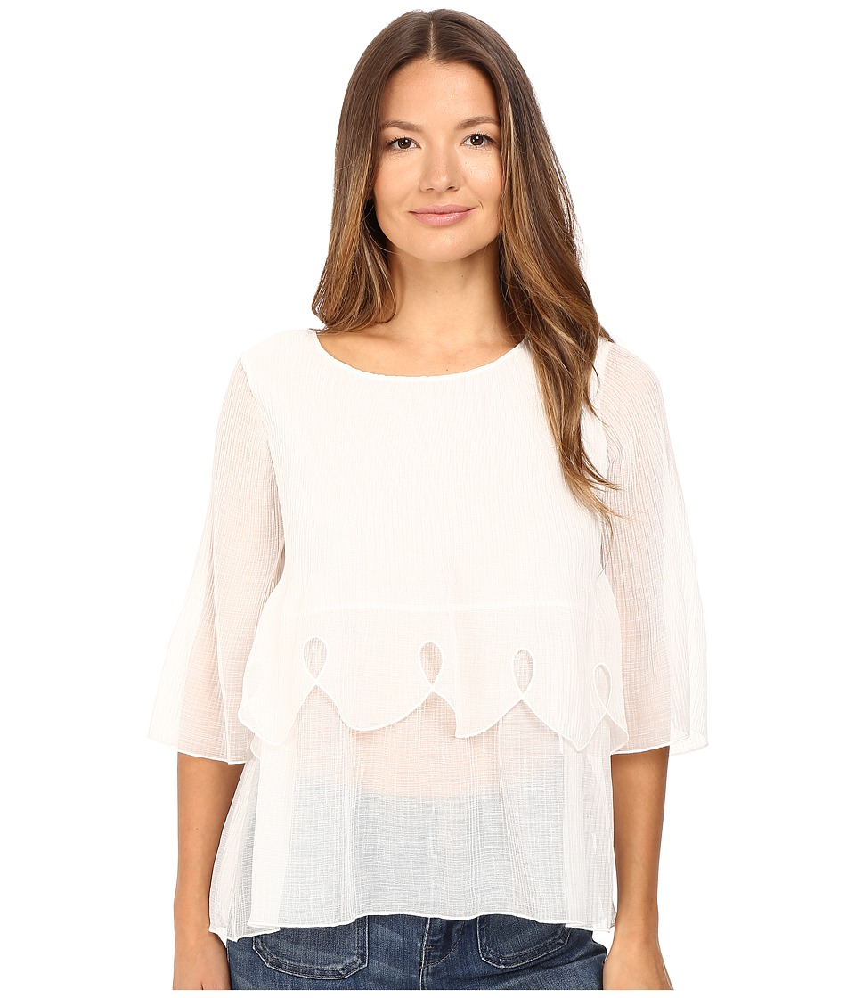 See by Chloe - Crepon Tier Blouse (Natural White) Women's Blouse