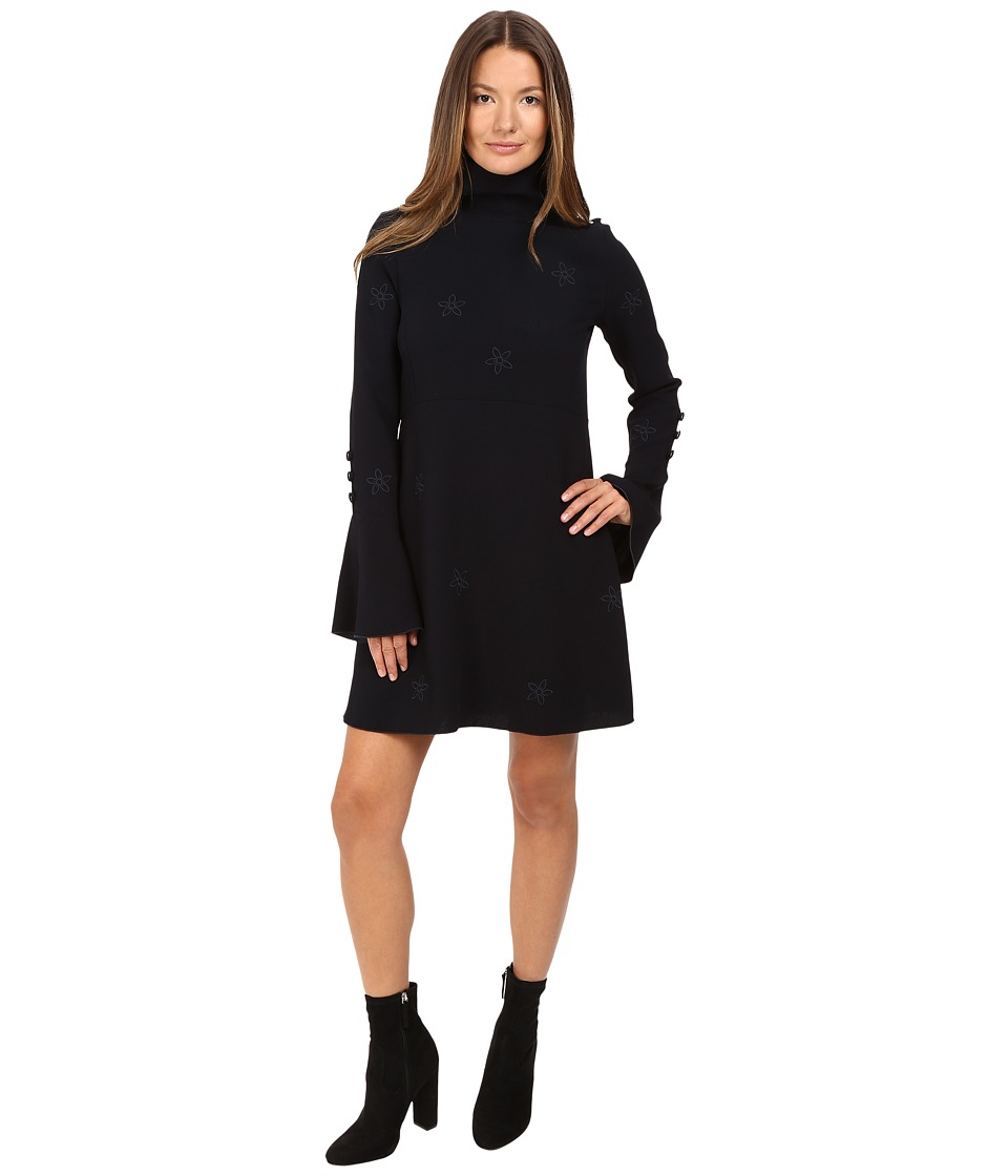 See by Chloe - Crepe Dress with Bell Sleeves and Star Detailing (Navy) Women's Dress