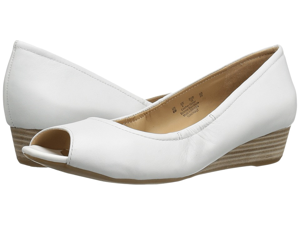 Naturalizer - Contrast (White Leather) Women's Wedge Shoes