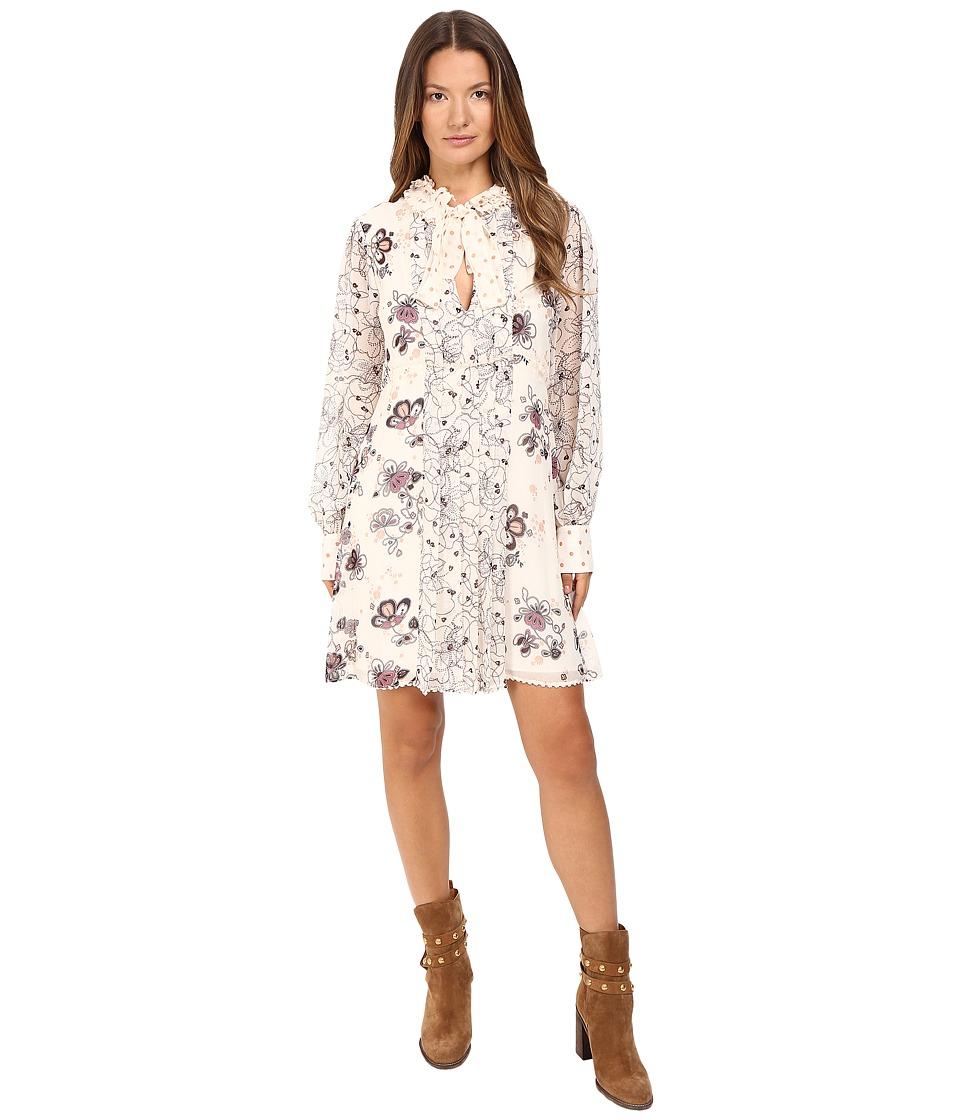 See by Chloe Georgette Floral Tie Dress (Winter White) Women