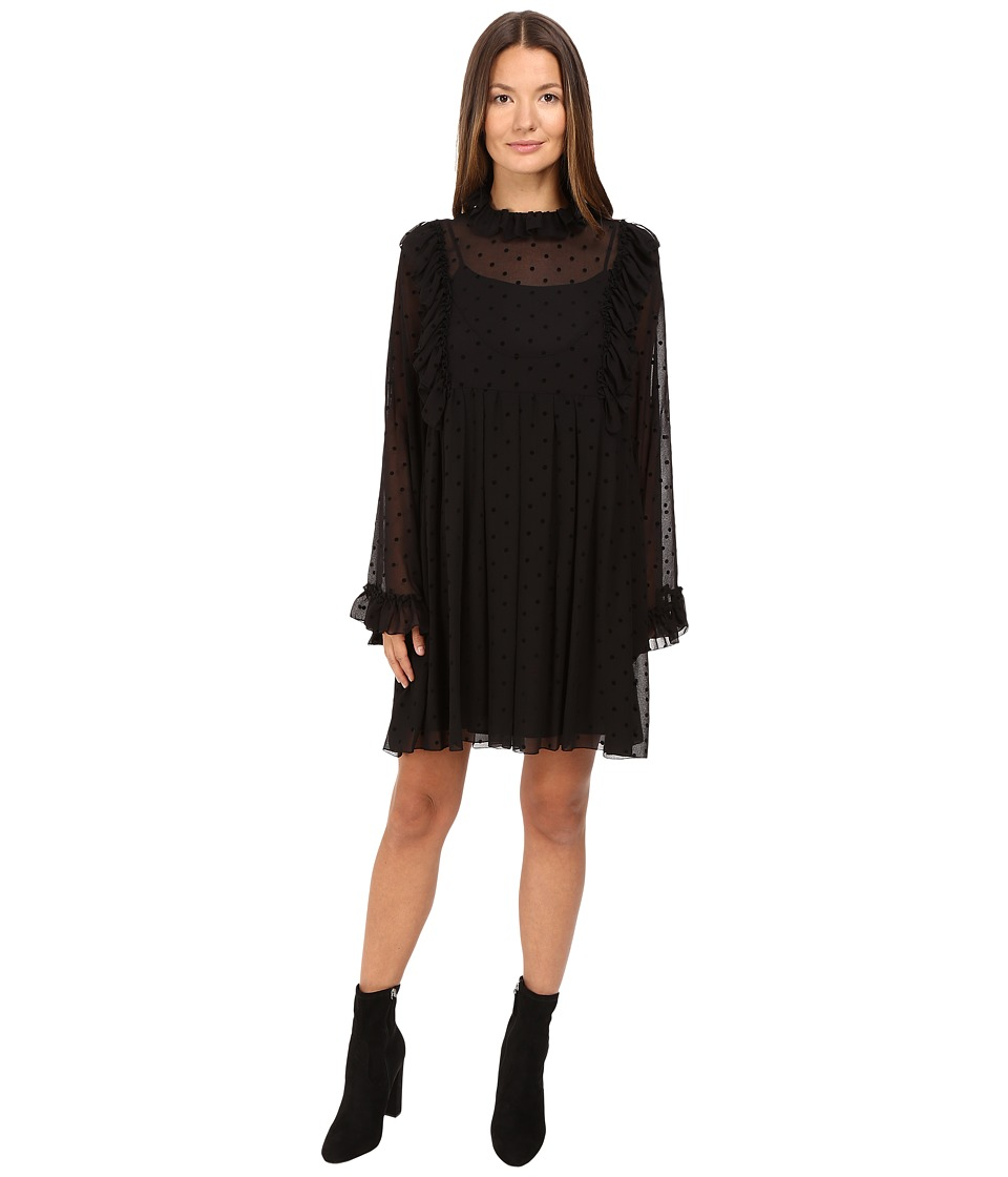 See by Chloe - Georgette Ruffle Dress (Black) Women's Dress