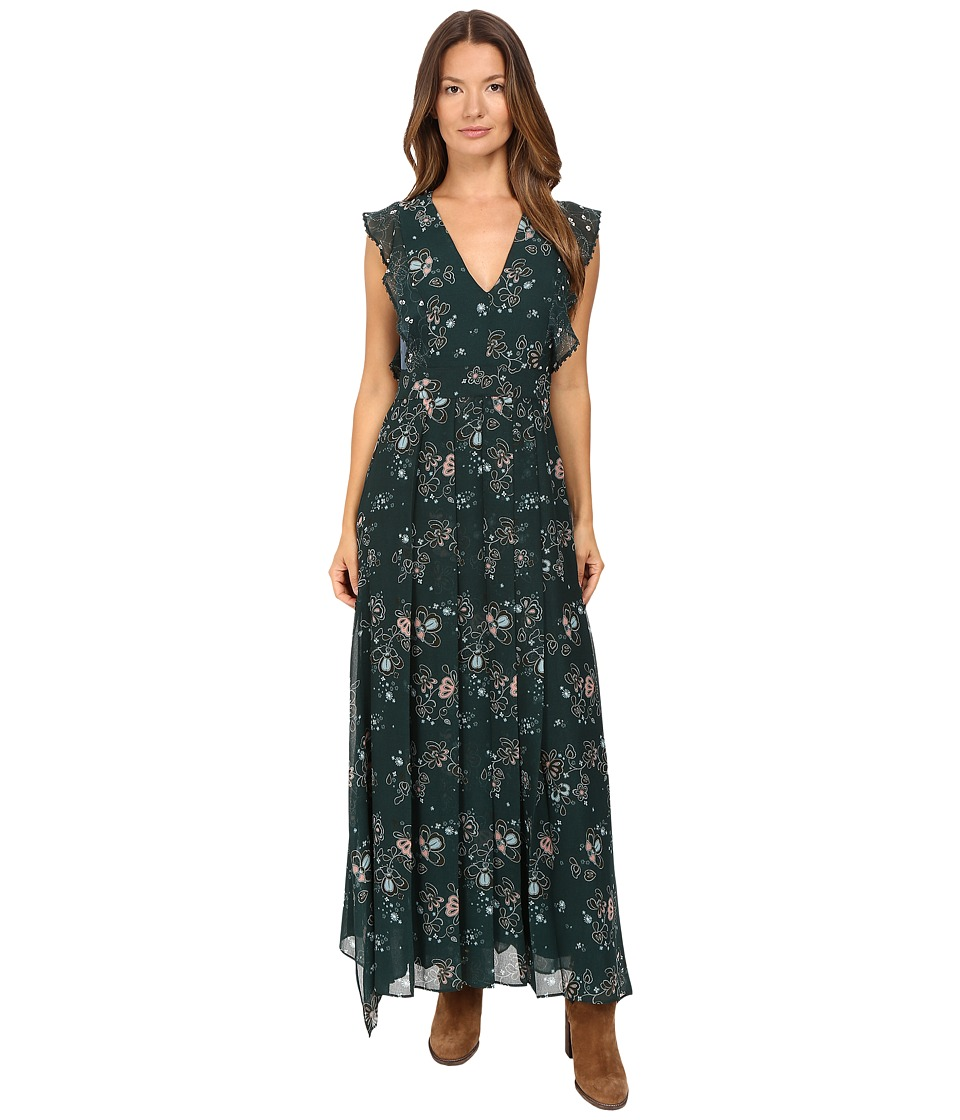 See by Chloe - Georgette Floral Maxi Dress (Frosty Green) Women's Dress