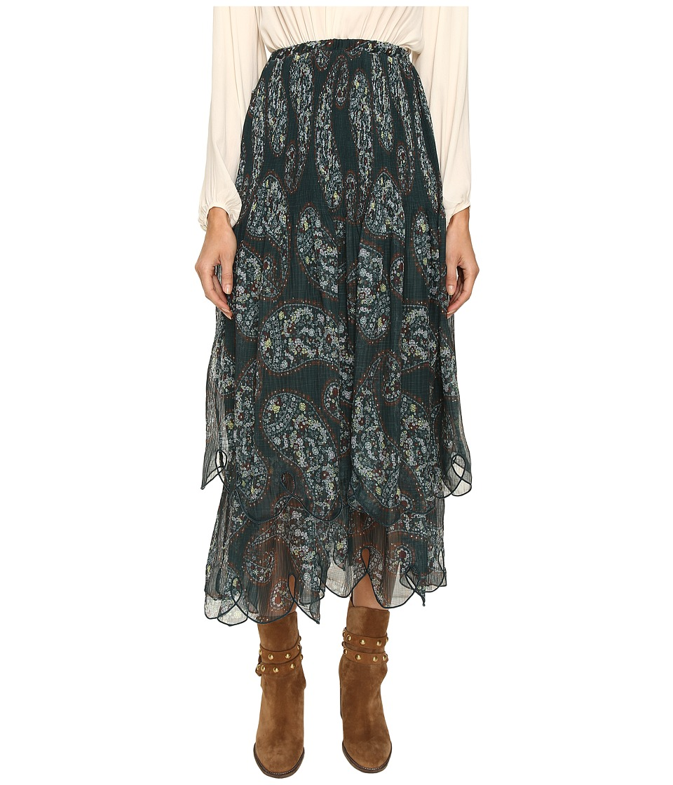 See by Chloe - Crepon Paisley Maxi Skirt (Frosty Green) Women's Skirt