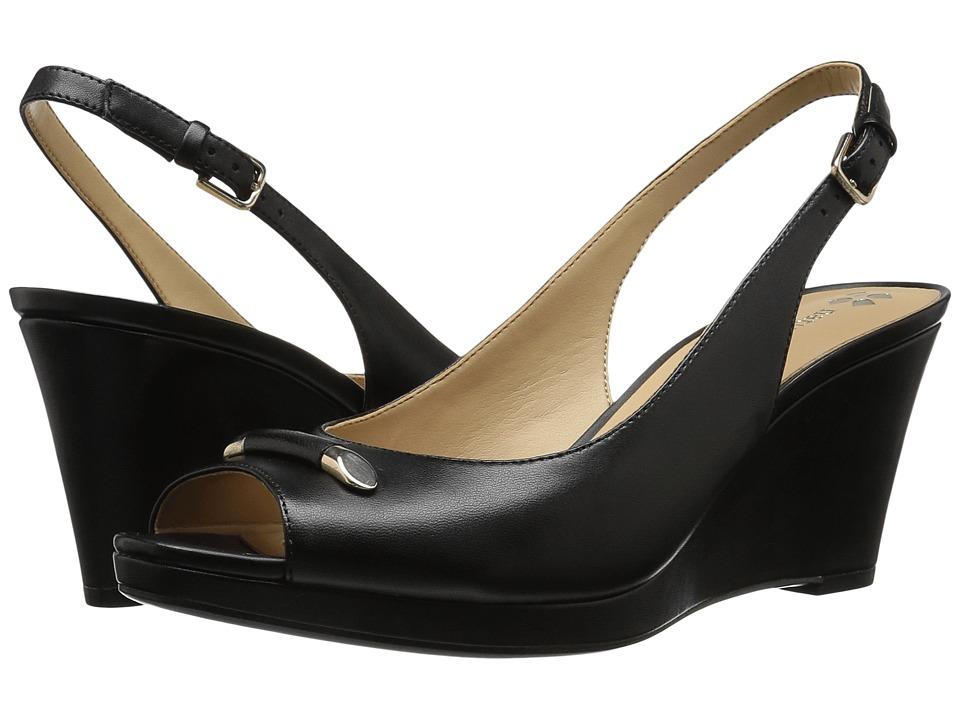Naturalizer - Oleander (Black Leahter) Women's Wedge Shoes