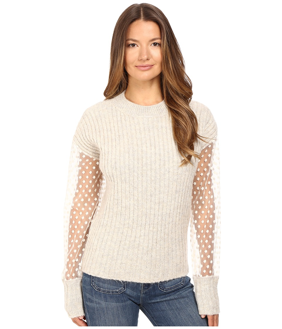 See by Chloe - Knit Pullover with Sheer Sleeves (Aspen Light Grey) Women's Long Sleeve Pullover