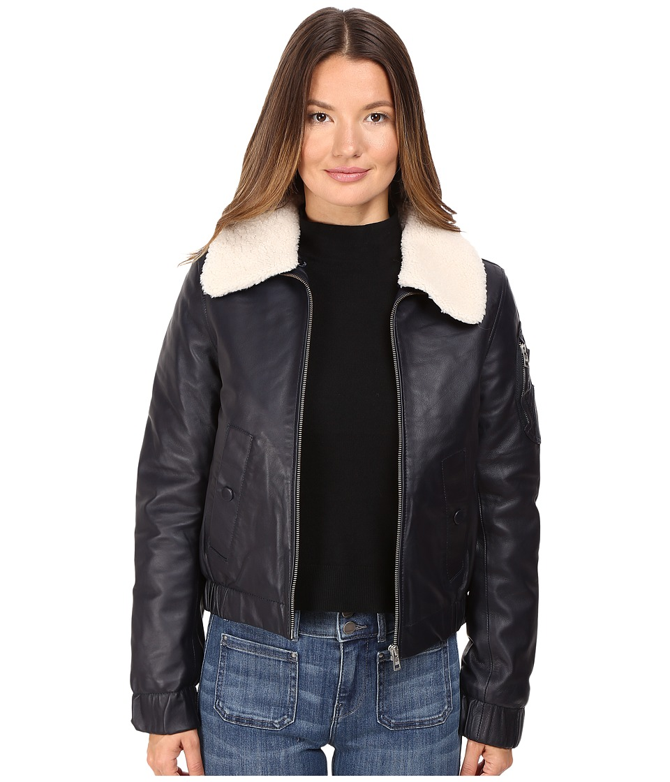 See by Chloe - Leather Jacket with Shearling Collar (Navy) Women's Coat