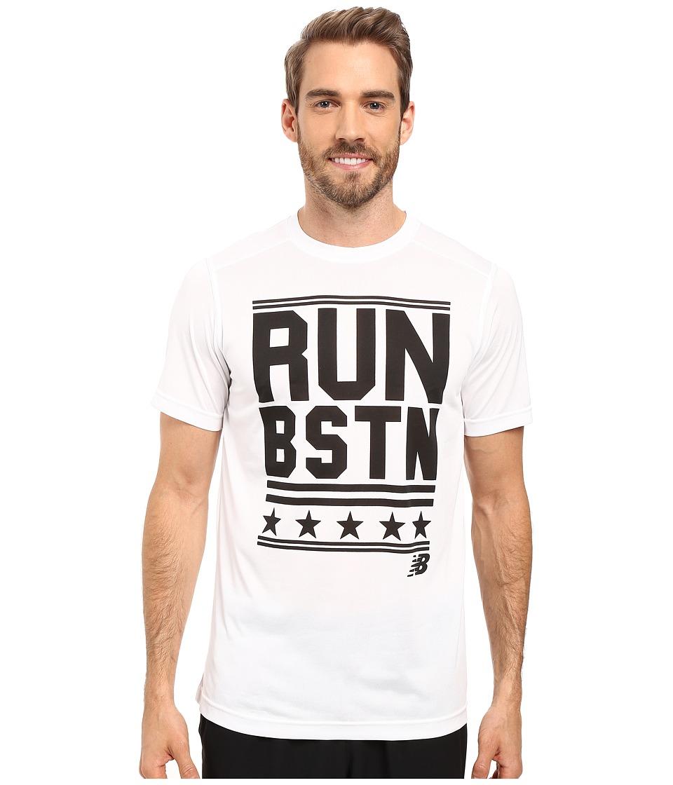 New Balance - Short Sleeve Graphic Heather Tech Tee (White) Men's T Shirt