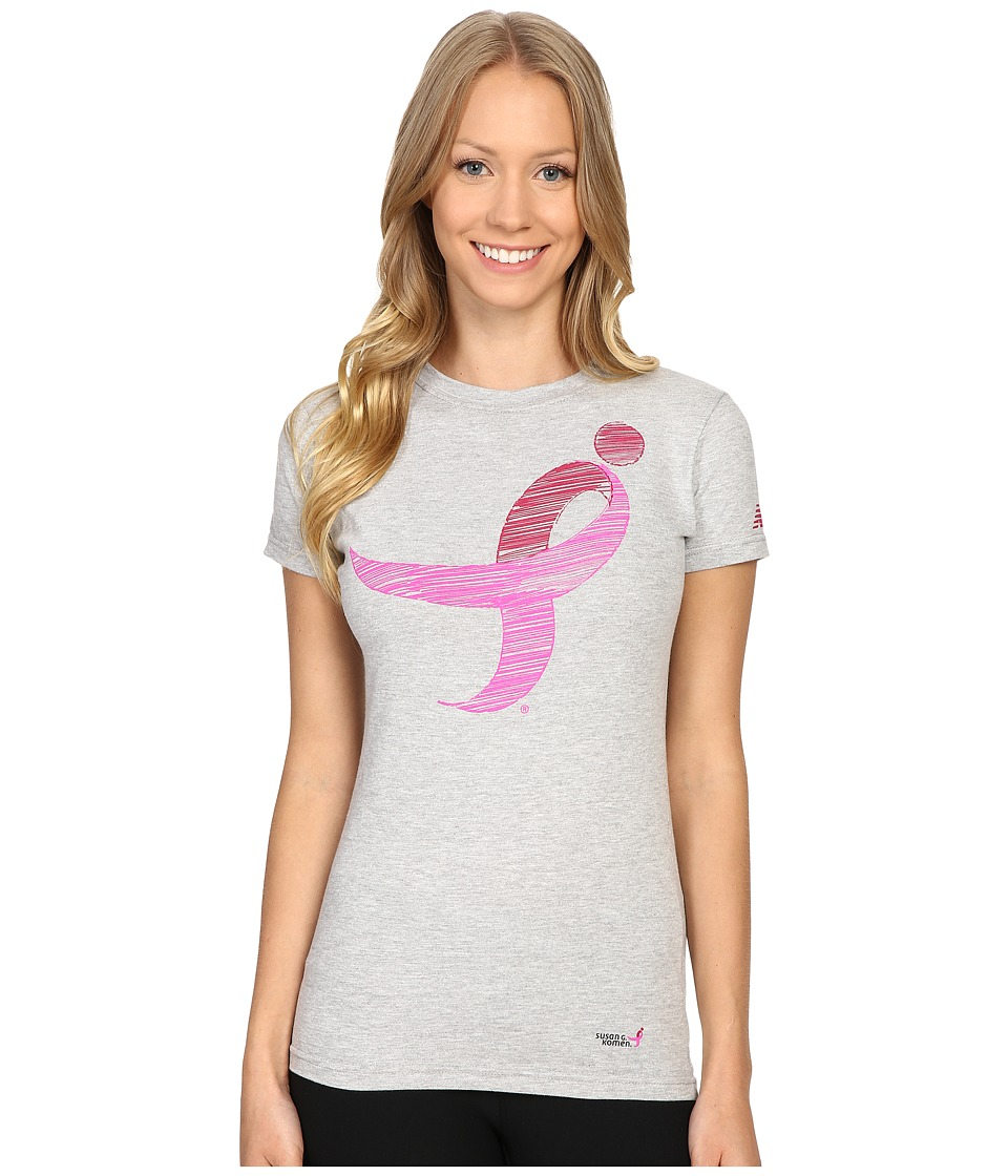 New Balance - Komen Ribbon Tee (Athletic Gray) Women's T Shirt