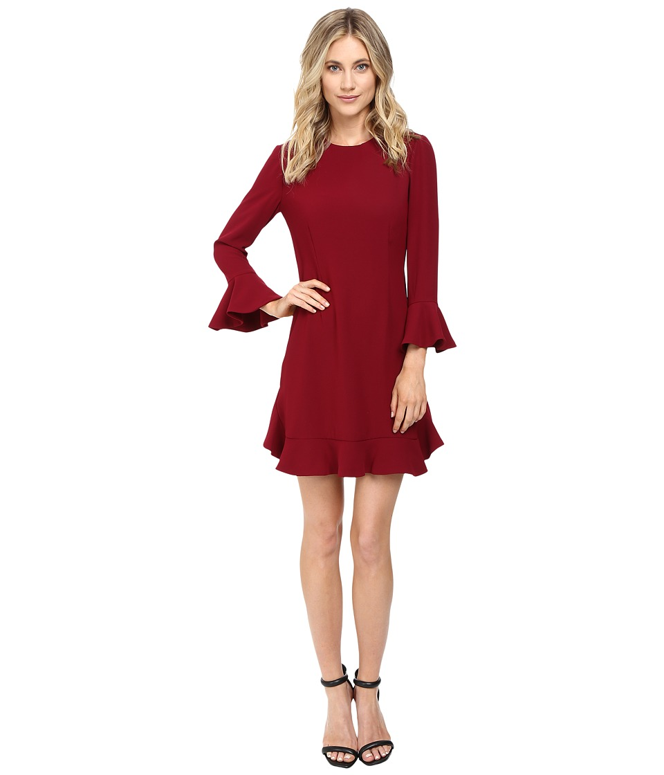 JILL JILL STUART Crepe Short Dress with Bell Long Sleeves (Currant) Women