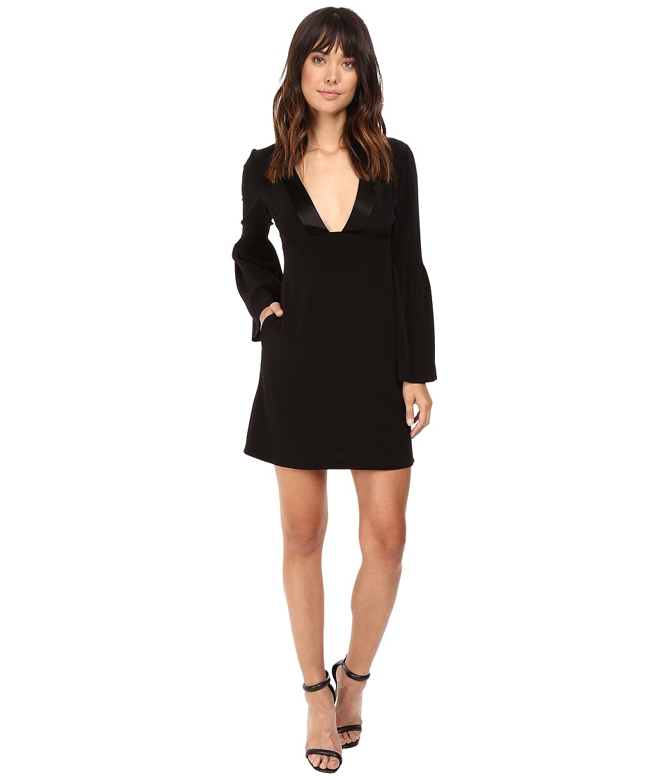 JILL JILL STUART - Short Satin Back Crepe Dress with Bell Long Sleeves and Deep V (Black) Women's Dress