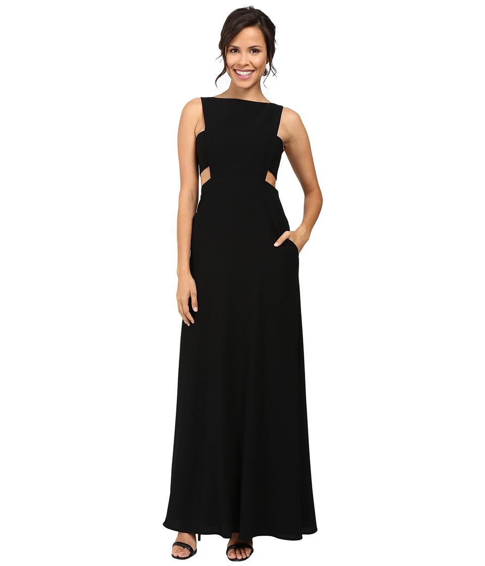 JILL JILL STUART Crepe Sleeveless Gown with Cut Outs (Black) Women