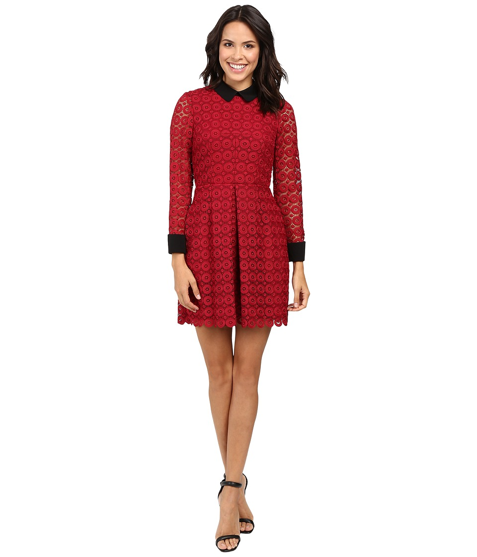 JILL JILL STUART - Venice Lace Short Dress with Long Sleeves and Collar (Currant) Women's Dress
