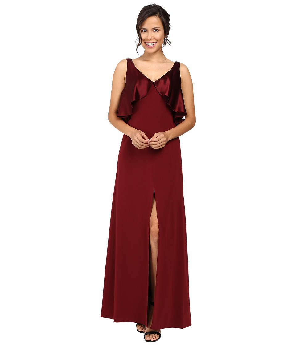 JILL JILL STUART - Satin Back Crepe Gown with Cape Detail at Neck (Oxblood) Women's Dress