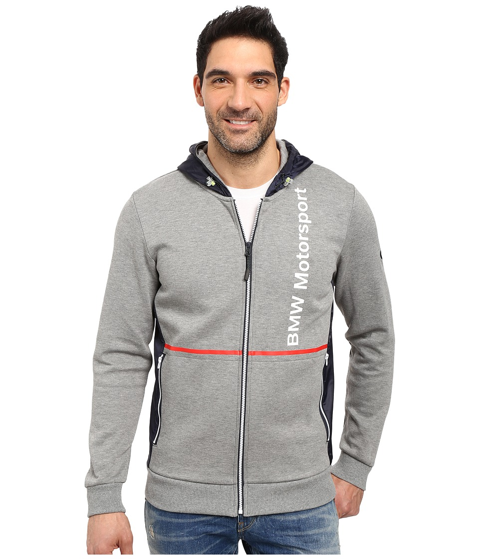 PUMA - BMW Motorsports Hooded Sweat Jacket (Medium Gray Heather) Men's Coat
