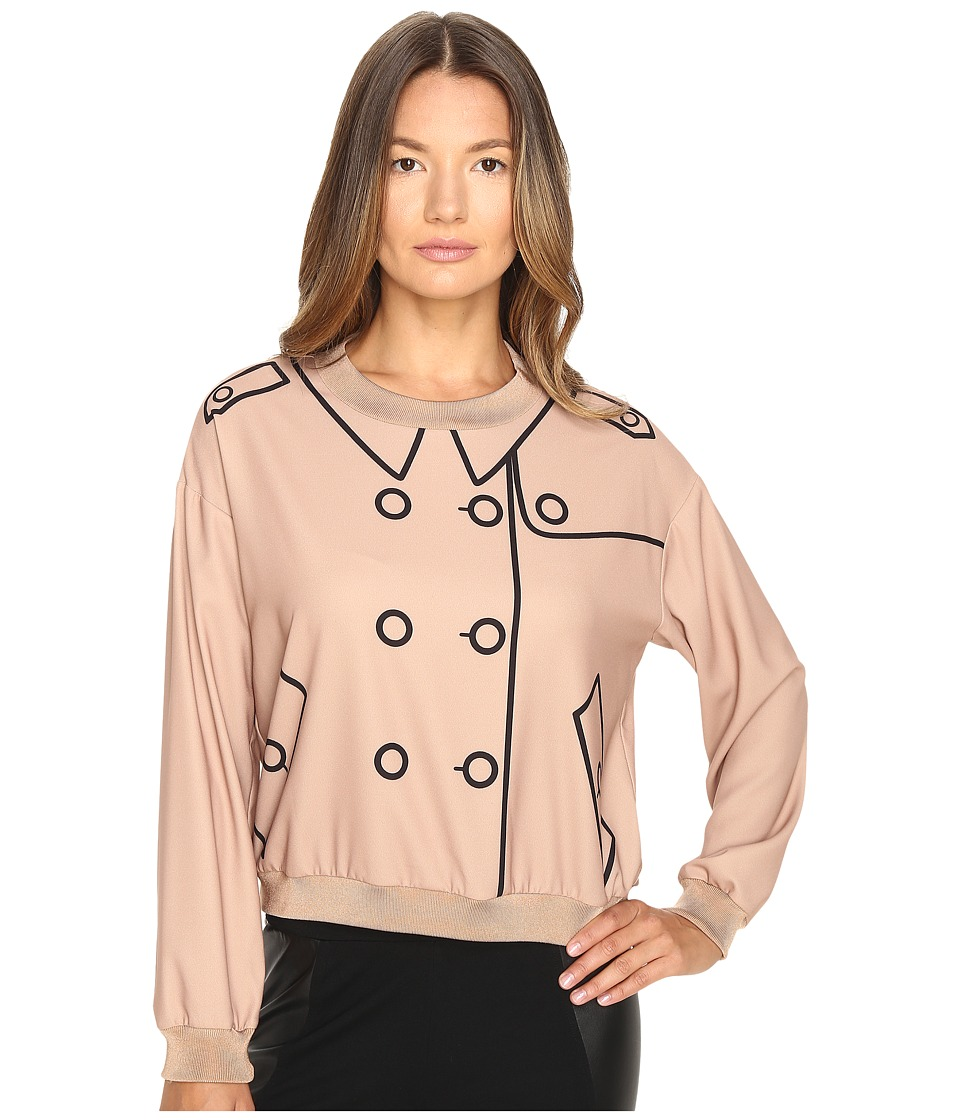 Boutique Moschino - Crepe Button Blouse (Champagne) Women's Blouse