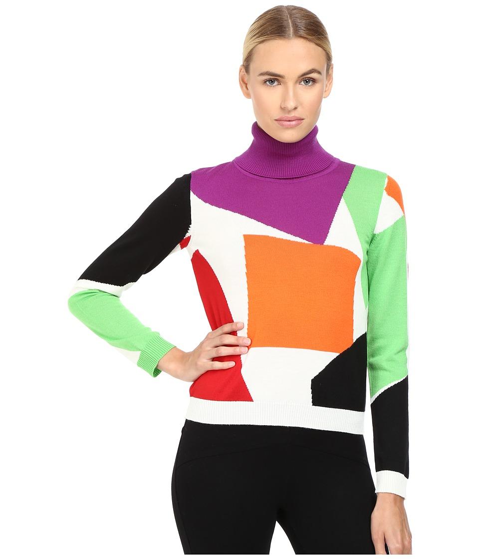 Boutique Moschino - Color Block Turtleneck Sweater (Fantasy Print White) Women's Sweater