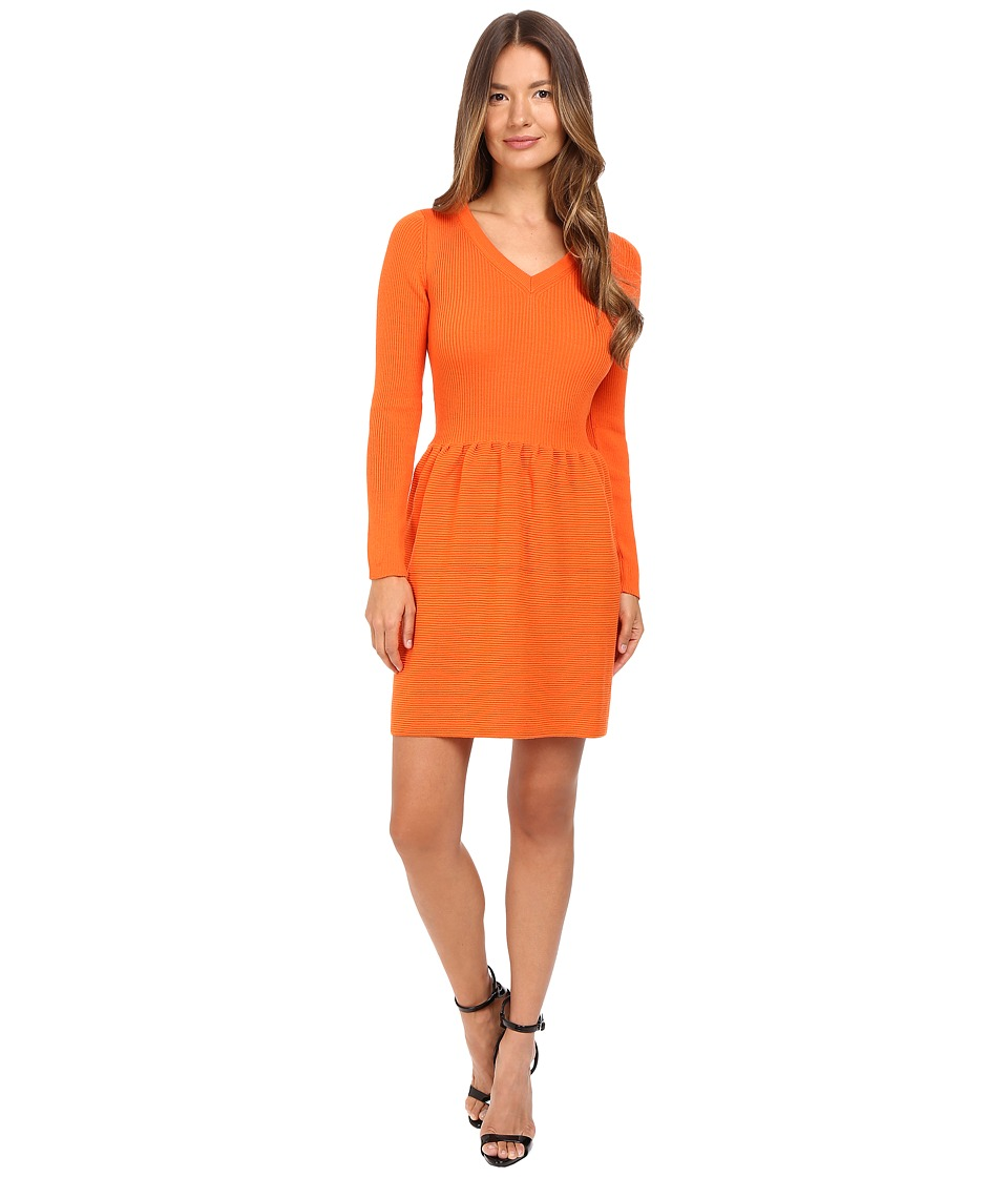 Boutique Moschino - Long Sleeve Ribbed Dress (Orange) Women's Dress