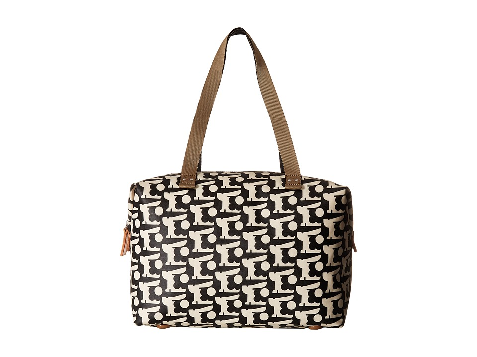 Orla Kiely - Matt Laminated Baby Bunny Print Zip Shopper (Black) Handbags