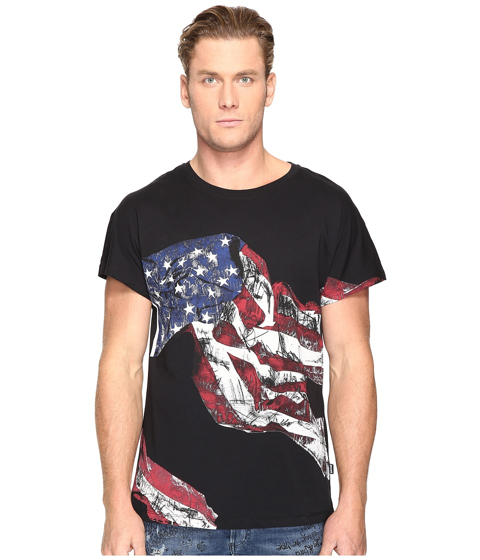 Just Cavalli - American Flag T-Shirt (Black) Men's T Shirt