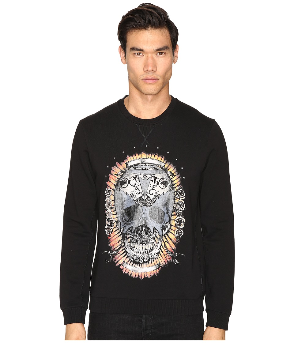 Just Cavalli - Wreath Skull Sweatshirt (Black) Men's Sweatshirt