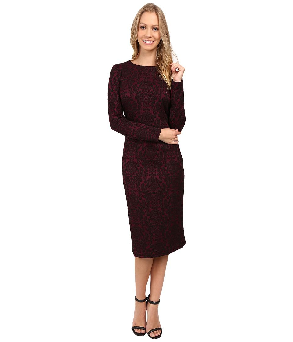 Maggy London - Scroll Wallpaper Jacquard Sheath (Dry Cherry) Women's Dress