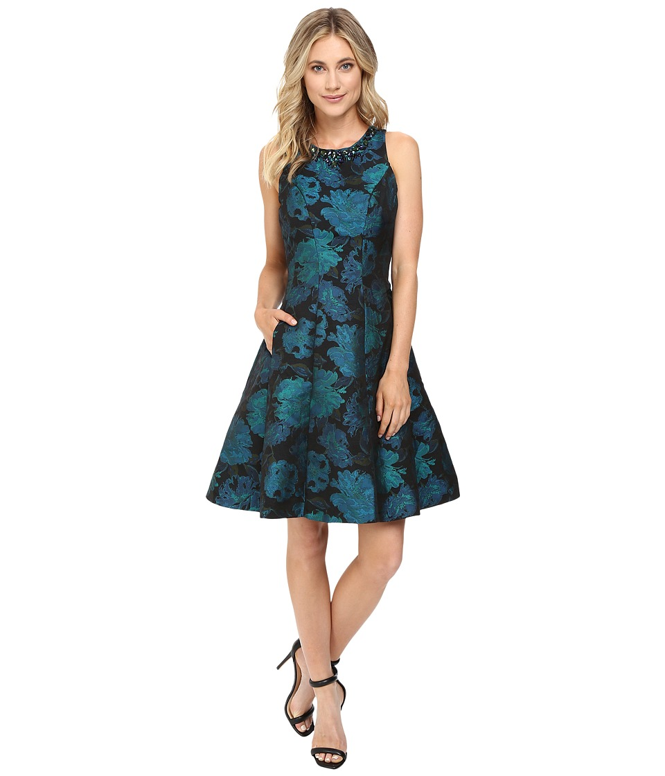 Maggy London - Autumn Rose Jacquard Fit and Flare (Emerald/Black) Women's Dress