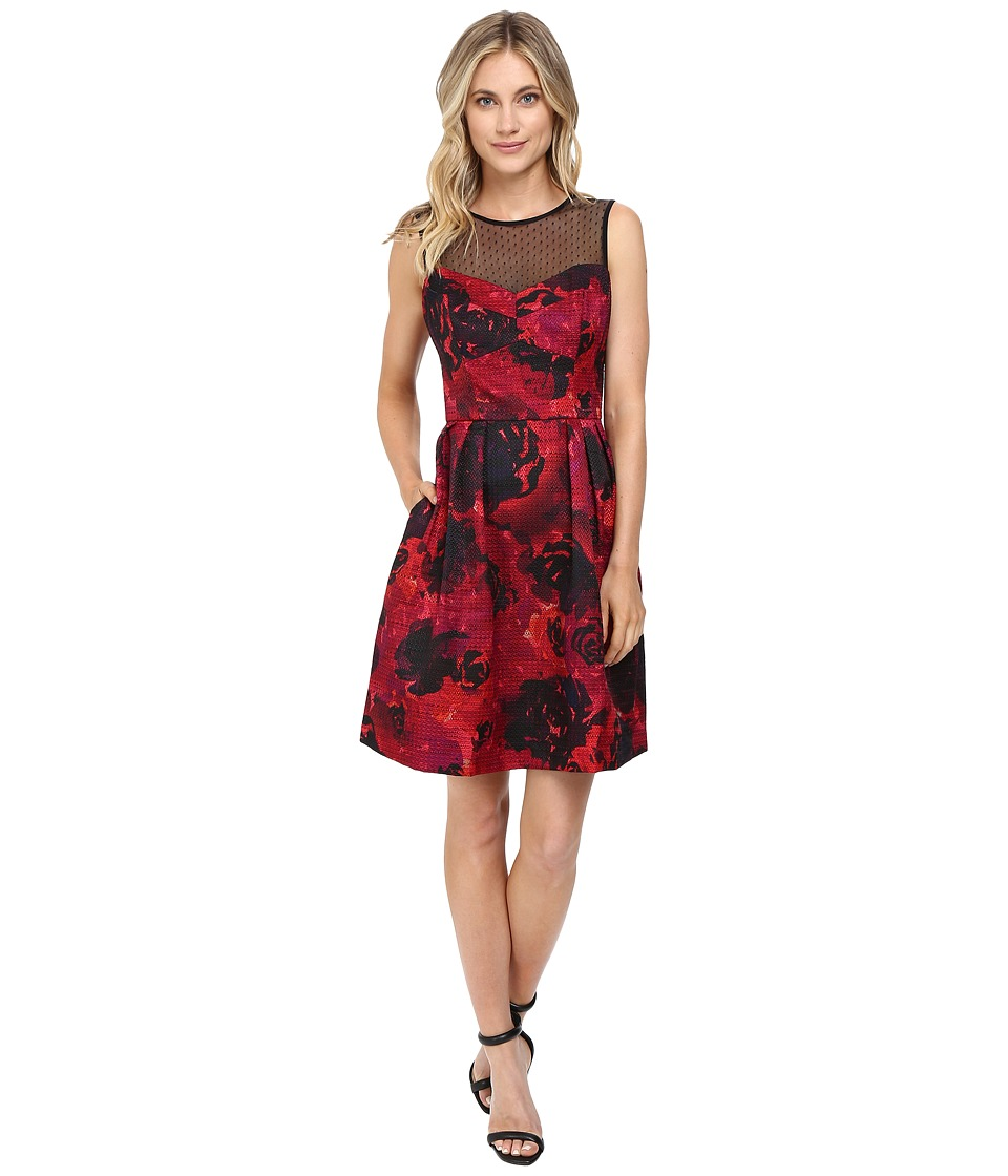 Maggy London - Printed Floral Texture Fit and Flare (Black/Red) Women's Dress